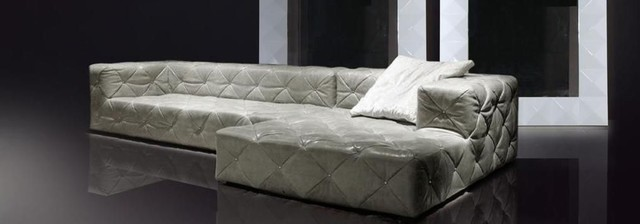 Madrid Taupe Beige Ultra Modern Living Room Furniture 3: Luxurious Tufted Curved Sectional Sofa In Leather