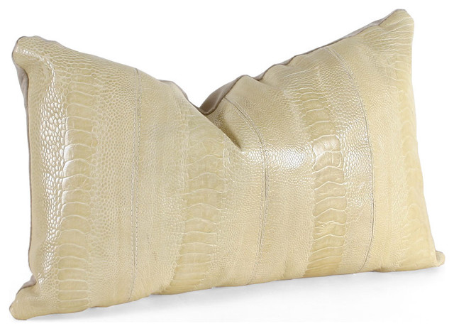 Decorative Leather Pillow : Leather Ostrich Pillow - Contemporary - Decorative Pillows - by Pfeifer Studio