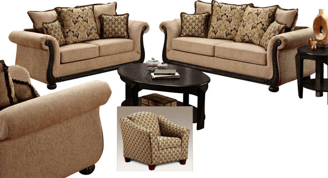 Chelsea Home Lily 4 Piece Living Room Set In Delray Taupe Traditional Living Room Furniture