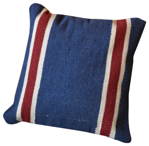 Blue Striped Decorative Pillows : Blue Striped Pillow - Rustic - Decorative Pillows - by The City Farm