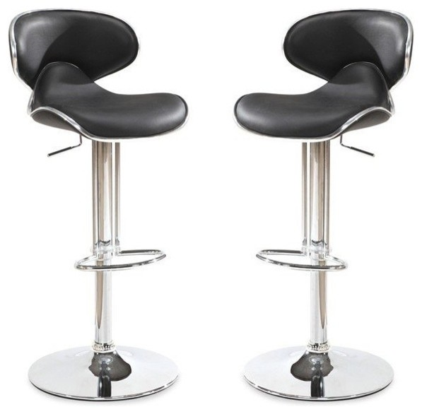 Lot de 2 tabourets chaises de bar bubble noir assise - Tabouret de bar contemporain ...