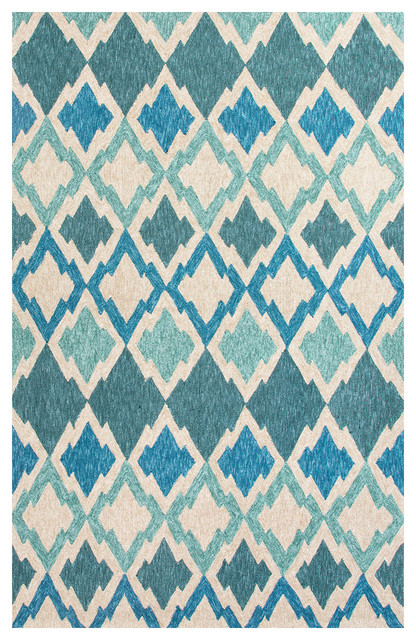Contemporary Outdoor Patio Rugs : Jaipur Catalina FlameStitch Blue Area Rug contemporaryoutdoorrugs