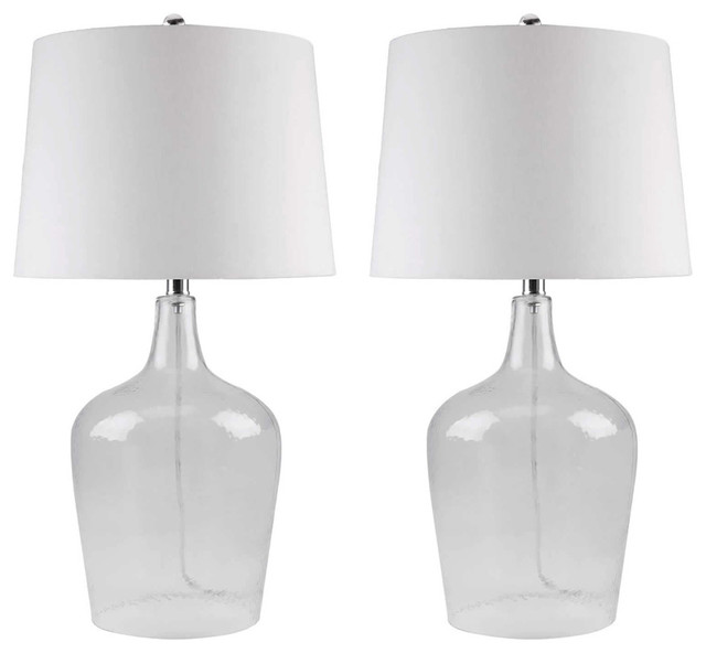 Abbyson Living Azure Clear Glass Table Lamp Set Of 2 Contemporary Table Lamps By