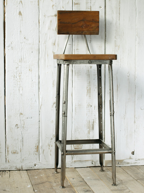 Industrial wooden stool by cox cox industrial for Barhocker industrial style