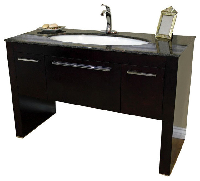 Bellaterra Single Sink Vanity Dark Walnut With Baltic Brown Marble 55 3 Contemporary