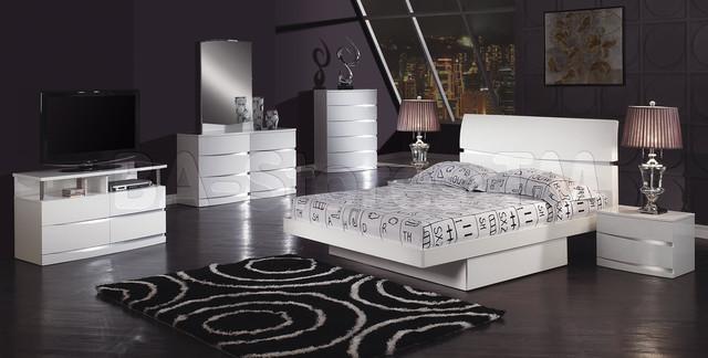 PC Aurora White Glossy Bedroom Set Modern Bedroom Furniture Sets