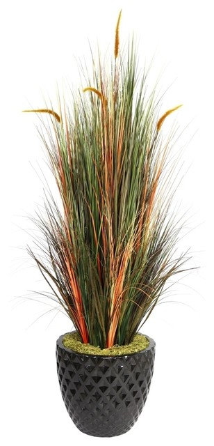 Laura ashley 66 tall onion grass with cattails in 16 for Tall ornamental grasses for pots