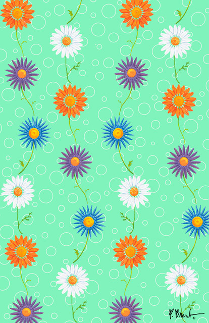 daisy green wall mural contemporary wallpaper