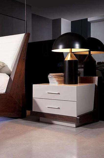Modern Grey & Brown Oak Night Stand