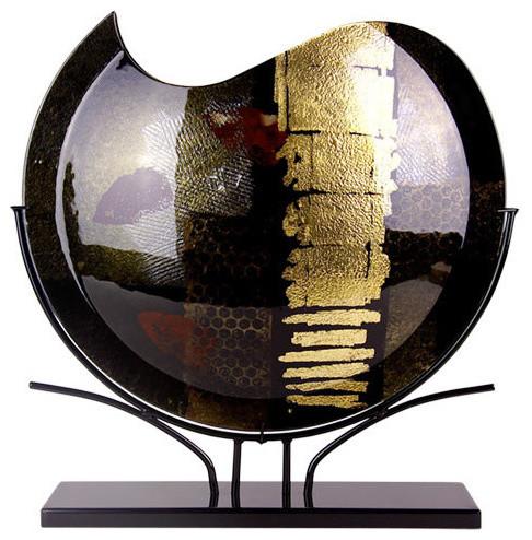 Maddox Round Vase Black And Gold Modern Vases By