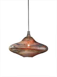 Genie Glass Pendant Light Amber Multi Contemporary