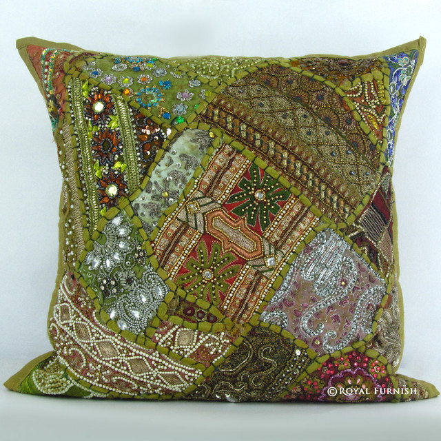 Unique Decorative Accent Pillows : Unique Green Heavy Bead Works Embroidered Decorative Throw Pillow Case Sham - Decorative Pillows ...