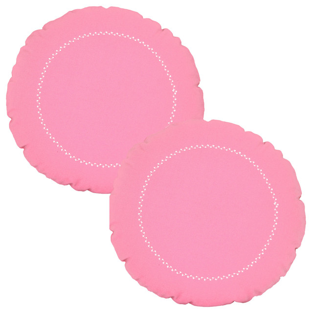 Pink Round Pillow Set White Stitching 12x12 Accent Cushions - Contemporary - Decorative Pillows ...