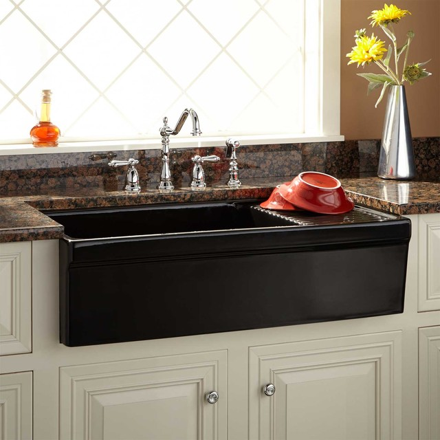 "36"" Aulani Italian Fireclay Farmhouse Sink with Drainboard Transitiona"