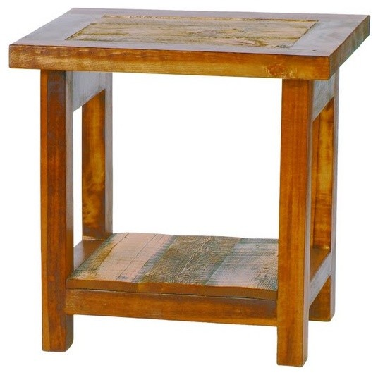 Small reclaimed wood end table rustic barnwood rustic for Reclaimed wood end table