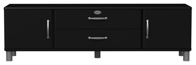 Malibu Meuble TV  Buffet bas à portes et tiroirs dont 1 à abattant noir  Co -> Meuble Malibu
