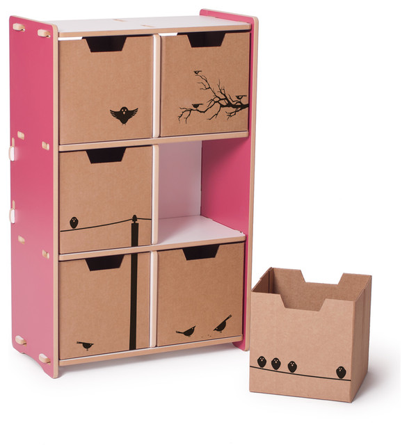 6 Cubby Shelf Pink White Contemporary Toy Organizers
