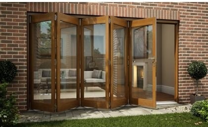 Oak Veneer Folding Sliding Patio Doorset 3594mm Wide