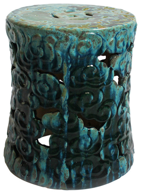 Hour Glass Turquoise Ceramic Garden Stool Asian Accent