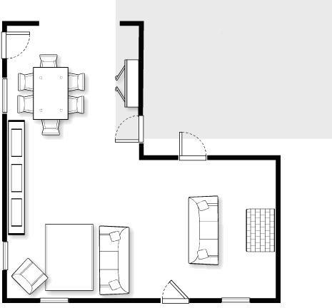 L shaped living dining room design problem for Living room designs l shaped