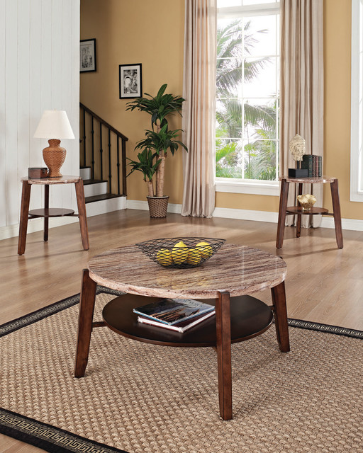 3 Piece Faux Marble Coffee Table Set Living Room Sofa: Acme Nadav Faux Marble Top 3PC Pack Round Coffee/End Table