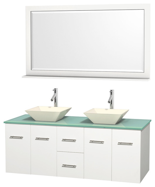 "60"" Double Bathroom Vanity, Green Glass Countertop, 58 ..."
