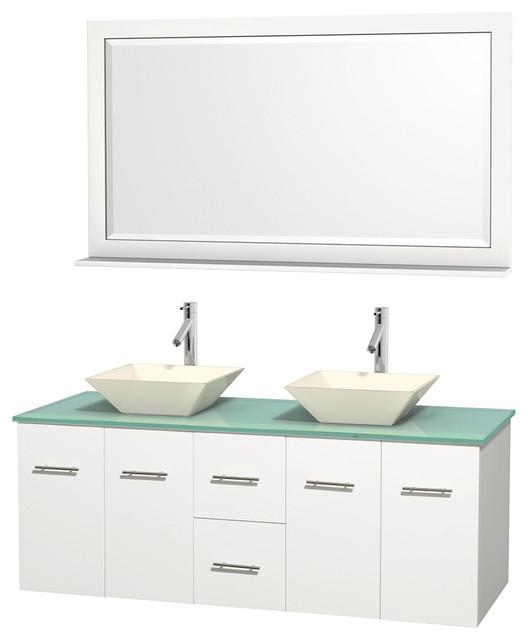 """60"""" Double Bathroom Vanity, Green Glass Countertop, 58 ..."""