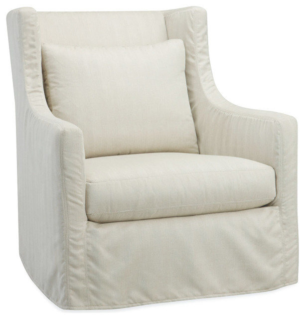 Cote d Azur Outdoor Wing Chair in Spinnaker Salt Transitional Armchai