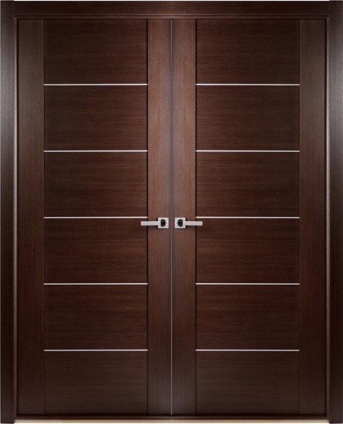 Contemporary African Wenge Interior Double Door With