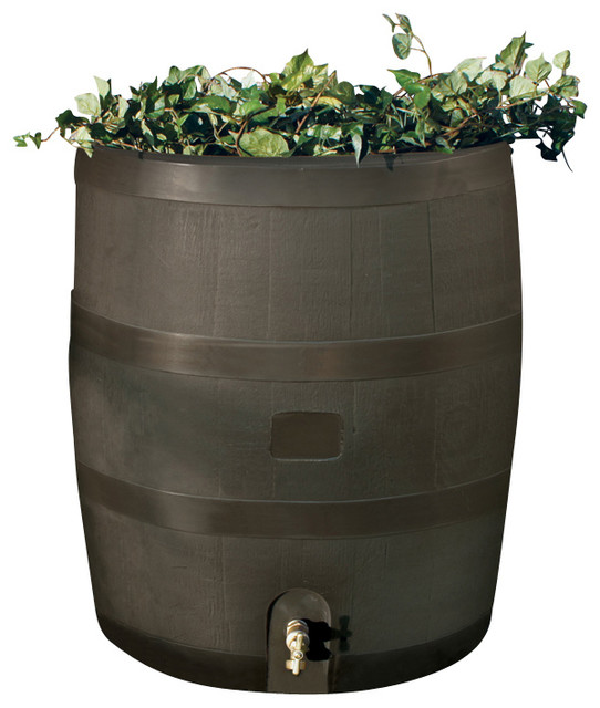 round rain barrel with planter mud bauhaus look. Black Bedroom Furniture Sets. Home Design Ideas