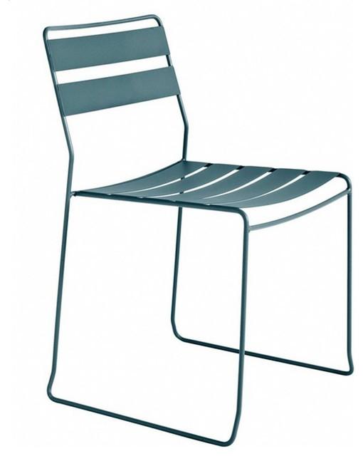 Chaise de jardin m tal design pasadena couleur bleu - Chaise de jardin bleu marine ...