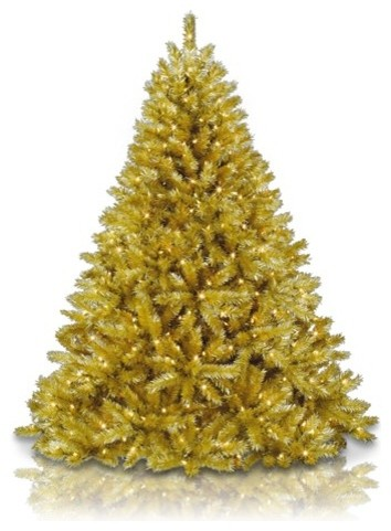 Toasted champagne gold tinsel tree modern christmas for Modern gold christmas tree