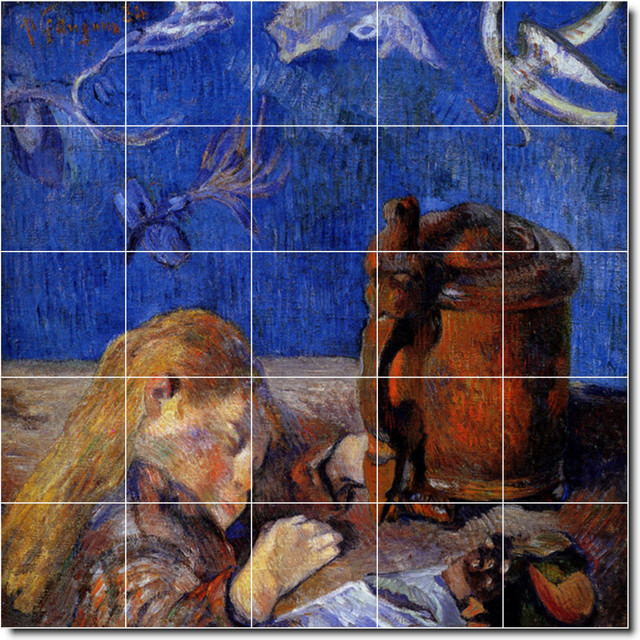 Paul gauguin children painting ceramic tile mural 35 60 for Ceramic mural painting