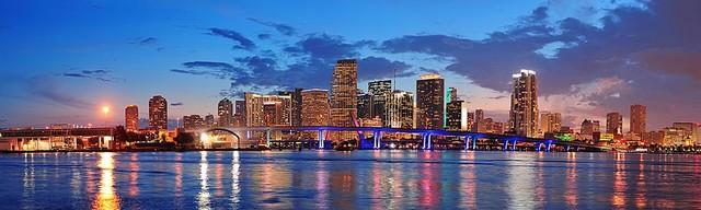 Miami Night Lights Panorama Wall Mural Self Adhesive