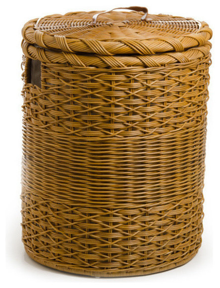 Round wicker hamper toasted oat large craftsman hampers by the basket lady - Large wicker laundry hamper ...