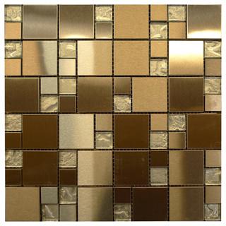 W32 Modular Silver Metal & Glass Mosaic - Contemporary - Tile - los angeles - by newglasstiles.com