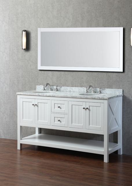 60 Emily Bathroom Vanity White Traditional Bathroom Vanities And Sink Consoles Orange