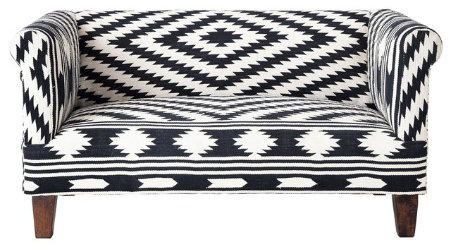 tabriz kilim black and white love seat eclectic sofas. Black Bedroom Furniture Sets. Home Design Ideas