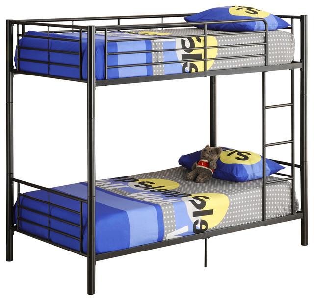 Twin Metal Bunk Bed Black Contemporary Bunk Beds