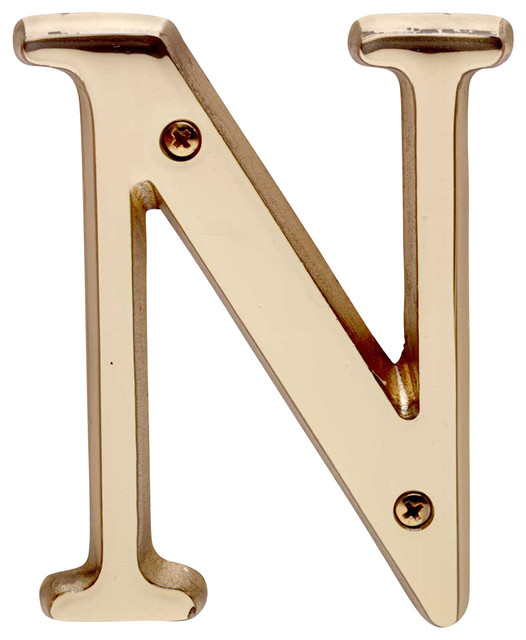 House Numbers Bright Solid Brass 4 House Lettern