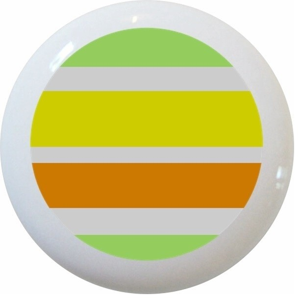 Yellow Green Orange Striped Ceramic Knob - Contemporary - Cabinet And Drawer Knobs - by Carolina ...