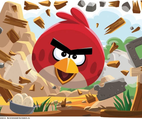 Angry birds application game large self stick wall accent for Angry bird wall mural