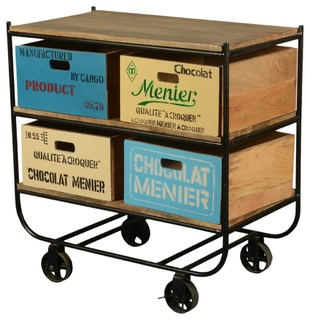 Chocolate Industrial Iron/Wood Rolling 4-Section Cart - Industrial - Buffets And Sideboards