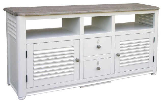 Tv Console White Painted River Wash - Entertainment Centers And Tv Stands - by EuroLuxHome