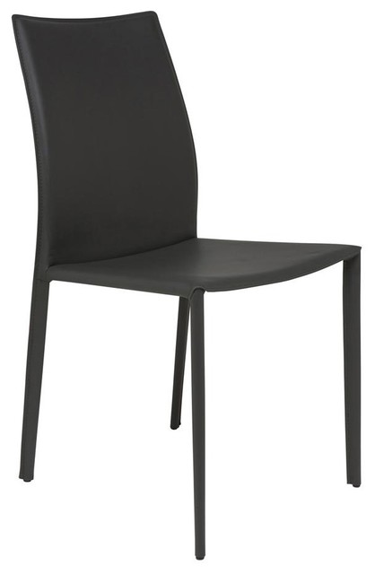 Sienna Leather Dining Chair In Dark Gray Set Of 2 Contemporary Dining C