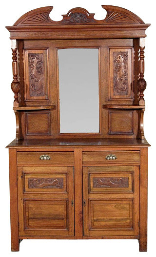 Solid Walnut Buffet ~ Antique english solid walnut victorian buffet sideboard