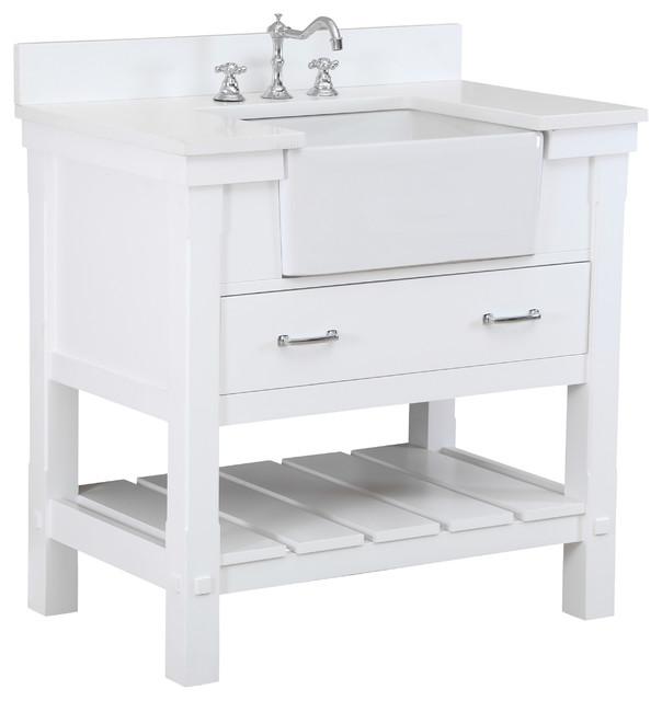 Charlotte 36 inch Farmhouse Vanity QuartzWhite  : farmhouse bathroom vanities and sink consoles from www.houzz.com size 604 x 640 jpeg 38kB