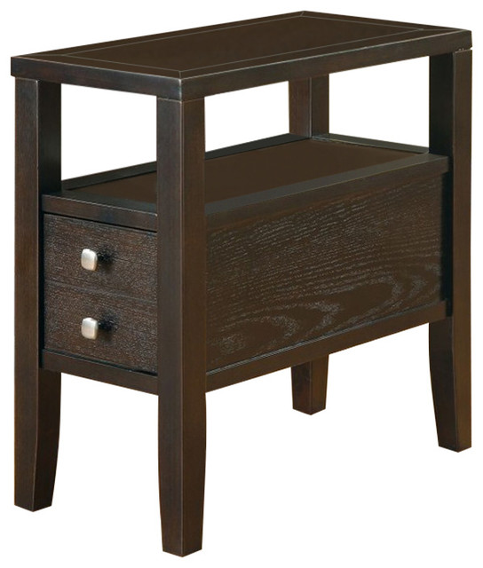 Casual Storage Chairside Table Dark Cappuccino Contemporary Side Tables And End Tables By