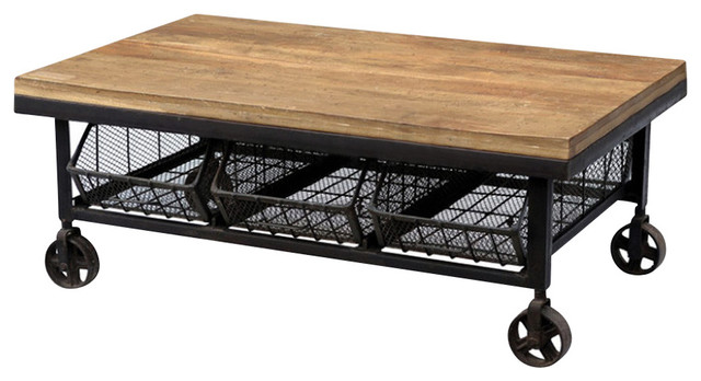 Industrial wood and iron coffee table with 3 drawers for Industrial farmhouse coffee table