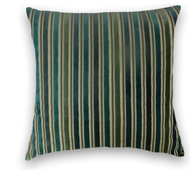 Teal Green Decorative Pillows : Green Teal Velvet Striped Throw, - Traditional - Decorative Pillows - by Cody & Cooper Designs